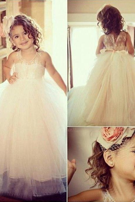 Flower Girl Dresses Children Birthday Dress Tulle Lace Wedding Party Dresses ww41