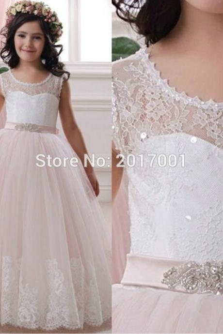 Lace Flower Girl Dresses by Tulle Ball Gown Scoop first communion dresses for girls wedding Occsion prom dress children 03