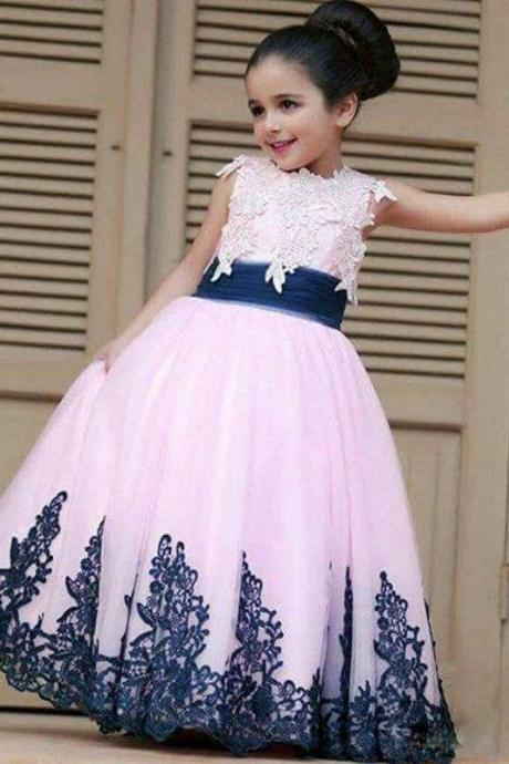 Cute Flower Girl Dresses Children Birthday Dress Lace Applique Ball Gown Tulle Wedding Party Dresses 94