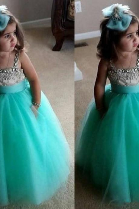 Spaghetti Strap Flower Girl Dresses Children Birthday Dress Crystal Sky Blue Ball Gown Tulle Wedding Party Dresses 02