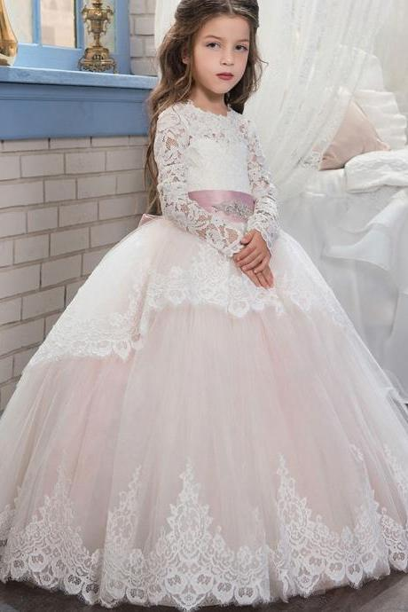 Long Sleeve Pink Sash Crew Cute Flower Girl Dresses Children Birthday Dress Lace Ball Gown Tulle Wedding Party Dresses 04
