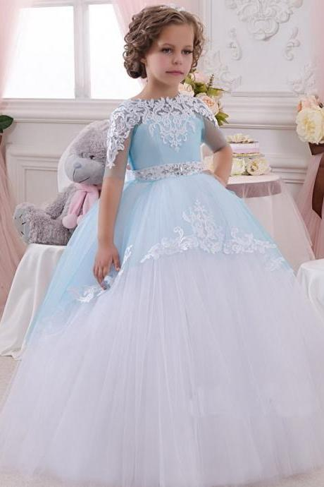 Short Sleeve Sky Blue Pageant Flower Girl Dresses Children Birthday Dress Lace Ball Gown Tulle Wedding Party Dresses 14