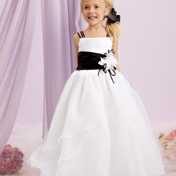 Chiffon Simple Princess Gowns Flower Girl Dresses Kids Birthday Dress Wedding Party Dresses 31