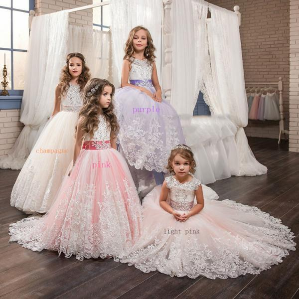 Princess Gowns Cute Pageant Flower Girl Dresses Kids Birthday Dress Lace Wedding Party Dresses 68