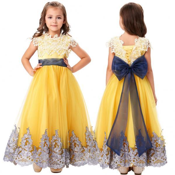 Formal Flower Girl Princess Bridesmaid Wedding Prom Kids Party Lace Tulle Dress 88