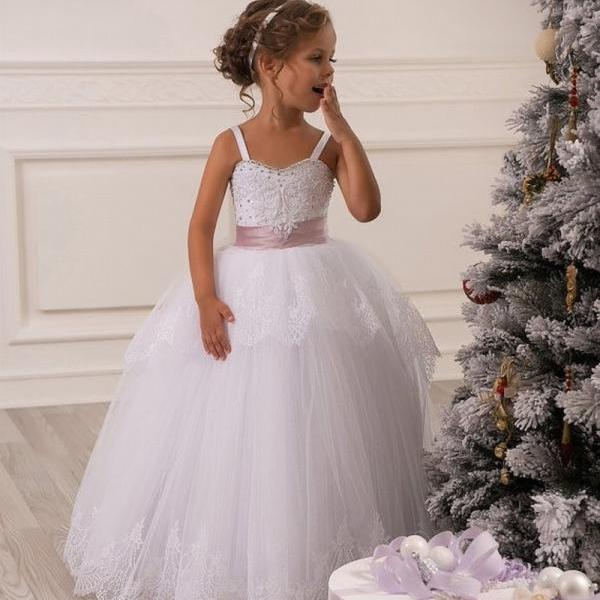 Beautiful Lace Baby Girl Birthday Wedding Party Formal Flower Girls Dress baby Pageant dresses 240
