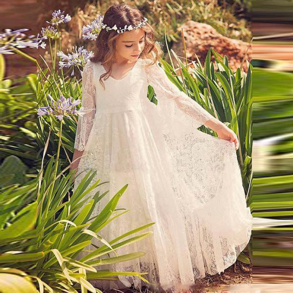Bat Sleeve Lace Baby Girl Birthday Wedding Party Formal Flower Girls Dress baby Pageant dresses 243