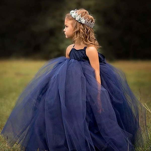 Blue Tulle Girl Birthday Wedding Party Formal Flower Girls Dress baby Pageant dresses 323