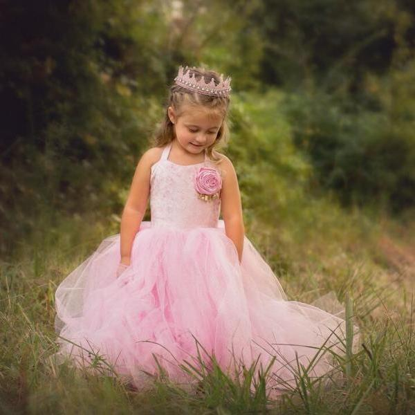 Pink Halter Lace Girl Birthday Wedding Party Formal Flower Girls Dress baby Pageant dresses 325