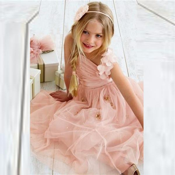 Pink Girl Birthday Wedding Party Formal Flower Girls Dress baby Pageant dresses 327