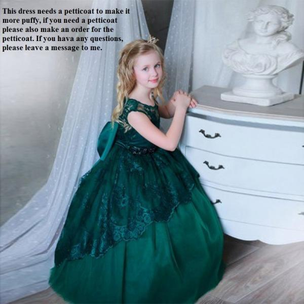 Green Girl Birthday Wedding Party Formal Flower Girls Dress baby Pageant dresses 356