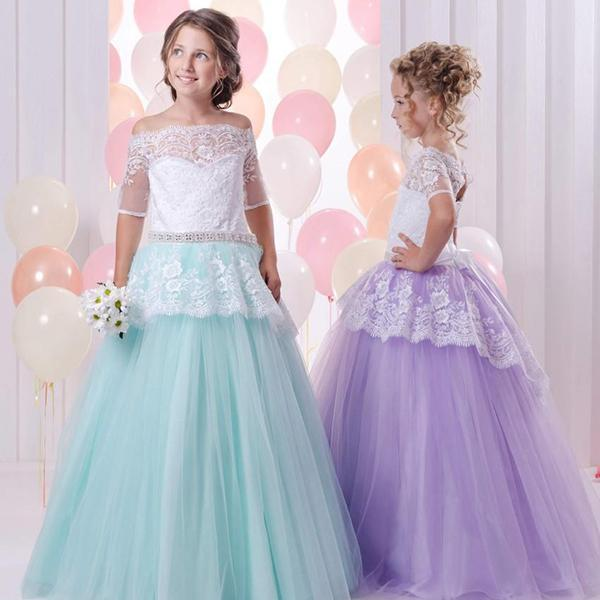 Lace Princess Gown Girl Birthday Wedding Party Formal Flower Girls Dress baby Pageant dresses 403