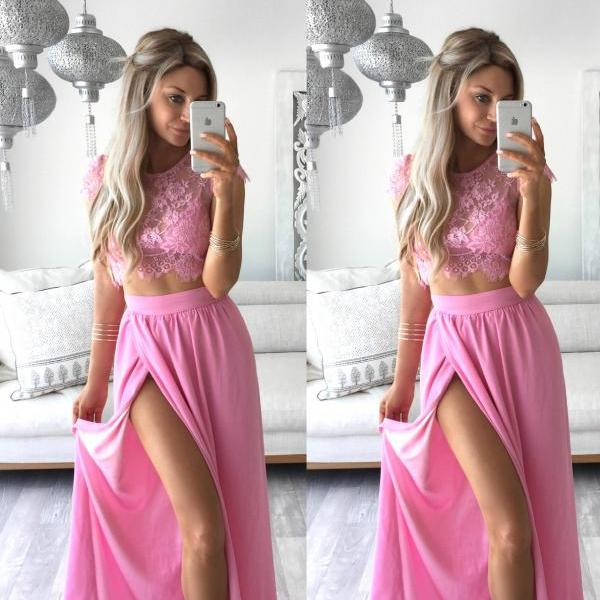 Prom Dress Long Prom Dress Pink Prom Dress Lace Prom Dress Split Prom Dress Chiffon Prom Dress Two Pieces Prom Dress Evening Dress Party Dress