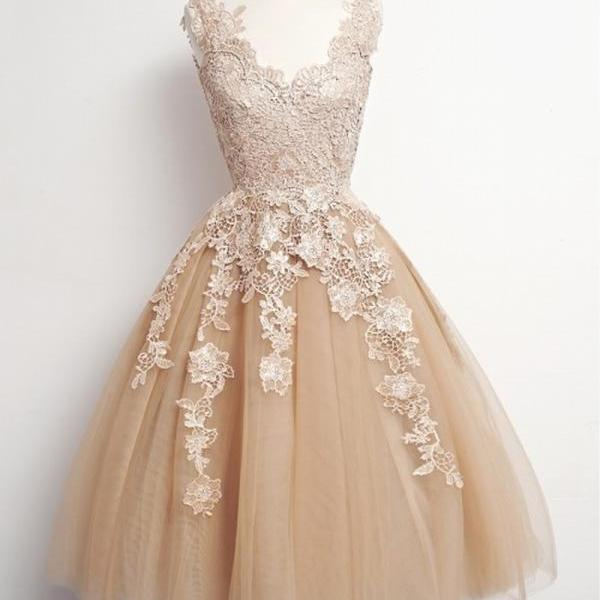 Homecoming Dresses Short Champagne Homecoming Dress Cheap Homecoming Dress Lace Applique Homecoming Dress Homecoming Dresses Vintage Homecoming Dress Elegant Homecoming Dress