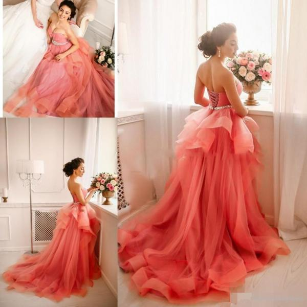 Coral Prom Dress Elegant Prom Dress Sweetheart Neckline Prom Dresses Rhinestones Prom Dress Vestido De Longo. A Line Prom Dress Prom Dresses Vestido De Festa Puffy Prom Dress