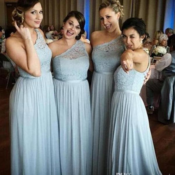 One Shoulder Chiffon Bridesmaid Dresses Lace Top Floor Length Maid Of Honor Gowns Cheap Long Prom Dresses Formal Evening Gowns