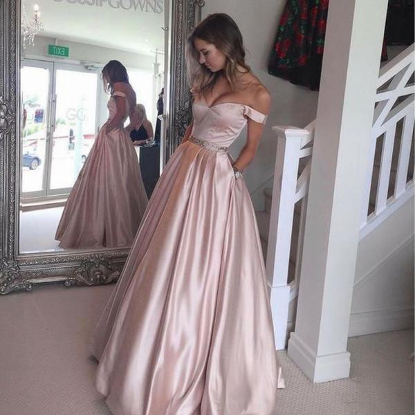 New Arrival Prom Dress Pink Off The Shoulder Evening Dress Full Length Party Dress