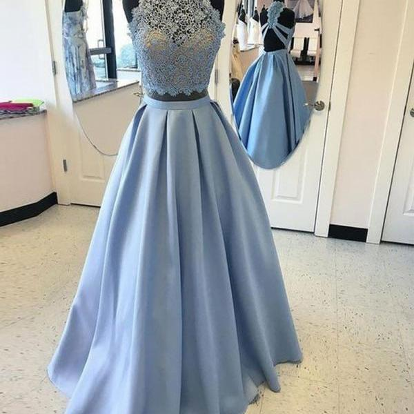 Blue Two Pieces Lace Long Prom Dress High Neck Prom Dress A-line Prom Dress Backless Prom Party Dress Blue Lace Evening Dress 2 Pieces Prom Dresses Senior Prom Dress