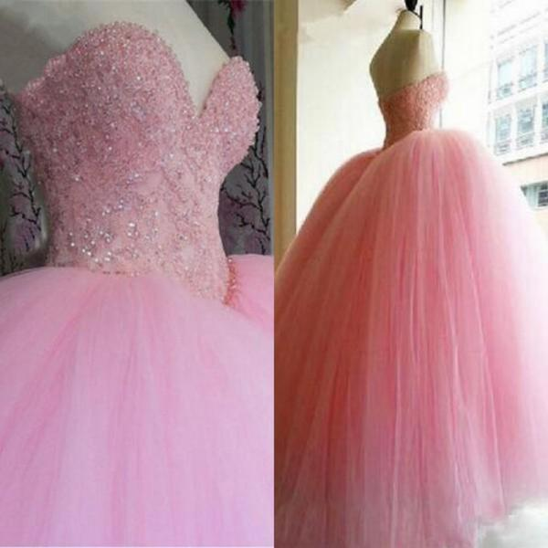 Pink New Quinceanera Dress Ball Gown Sweet 16 Prom Party Formal Wedding Dresses