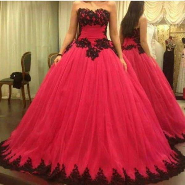Elegant Black Applique Quinceanera Dresses Ball Gown Prom Formal Evening Gowns