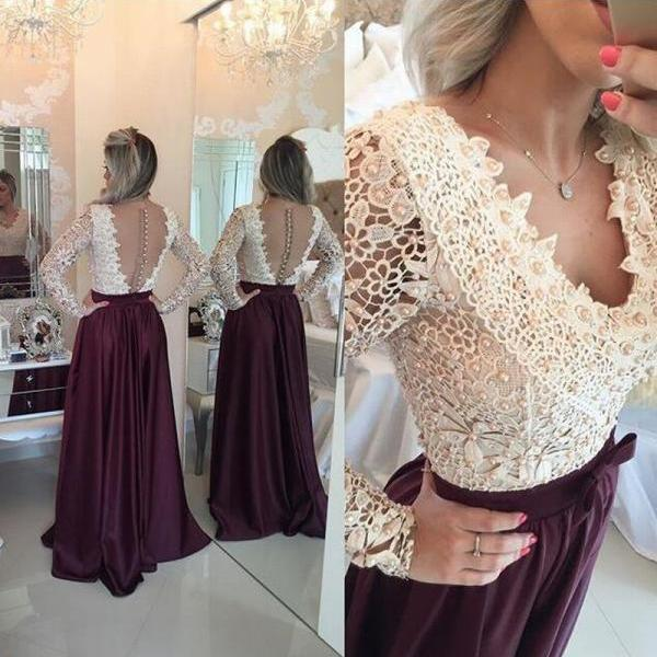 Lace Applique Long Sleeve Sheer Evening Cocktail Formal Party Bridesmaid Prom Gown Dresses