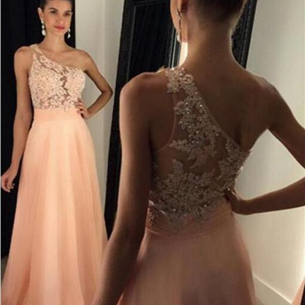 Sheer One Should Lace applique Evening Cocktail Formal Party Bridesmaid Prom Gown Dress