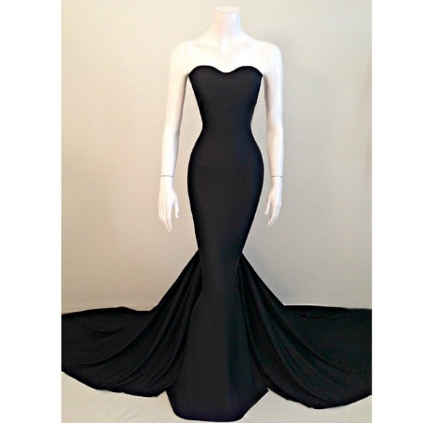 Mermaid Black Satin Wedding Gown Evening Cocktail Formal Party Bridesmaid Prom Gown Dress