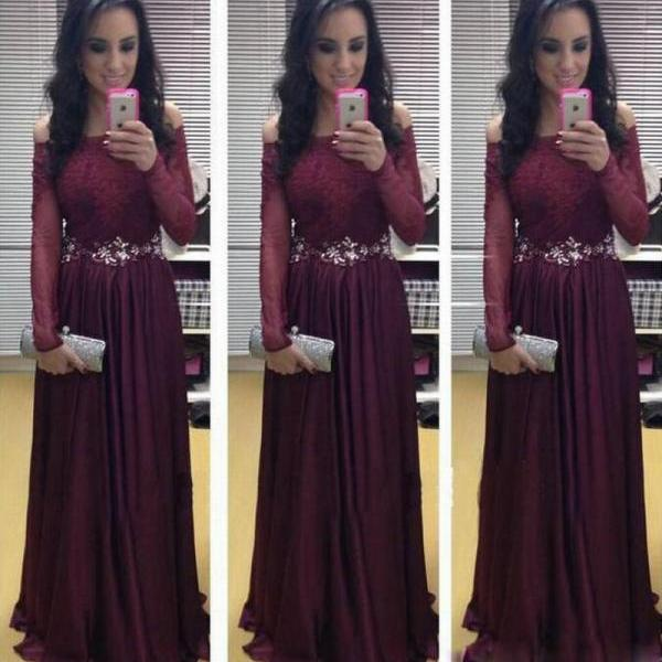 Long Sleeve One Neck Applique Evening Cocktail Formal Party Bridesmaid Prom Gown Dress