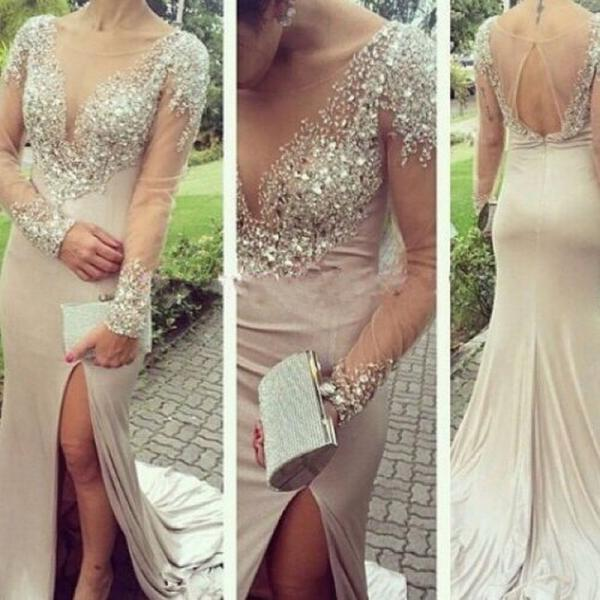 High Quality Prom Dress Long-Sleeves Prom Dress Mermaid Prom Dress Beading Prom Dress O-Neck Evening Dress