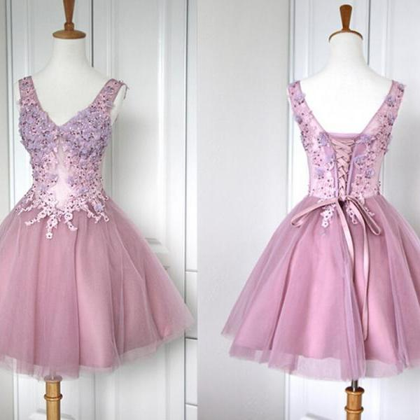 Short Homecoming Dress A-Line Homecoming Dress Organza Homecoming Dress V-Neck Short Prom Dress