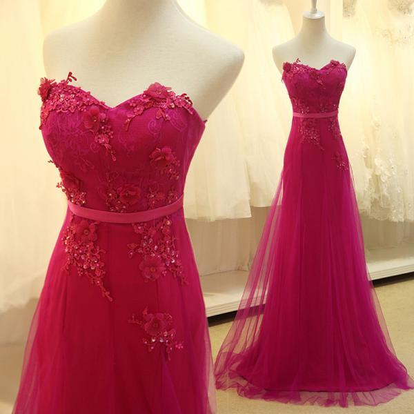 Custom Made Rose Red Tulle Long Prom Dress with Lace Applique Delicate Formal Dresses Evening Gowns