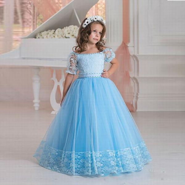 New Flower Girl Dress Boat Neck Princess Prom Dress Blue Lace Floor Length ytz173 (1)