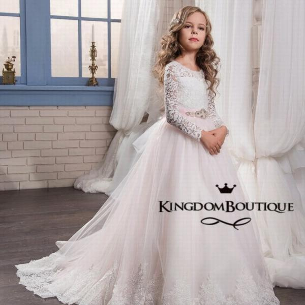 High Quality Flower Girl Dresses 2017 Scoop Full Sleeves Lace Bodice Princess Kids Formal Gown Girls First Communion Dresses ytz217