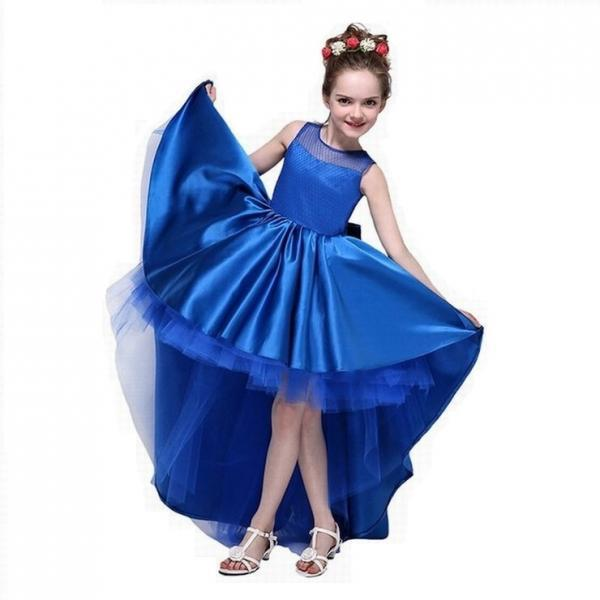 New Arrive Flower Girl Dresses High Low Scoop Sleeveless Hi Lo With Bow Back Satin Tulle Ball Gown Kids Wedding Party Gown ytz218