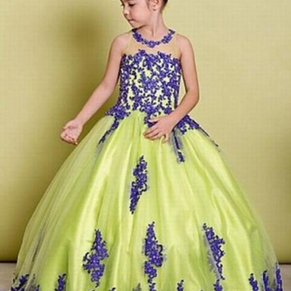 Princess Lace Flower Girls Dress Blue Lace Ball Gown Tulle Cheap China First Communion Dresses ytz247