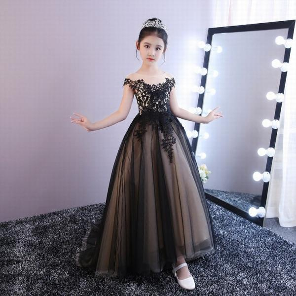 Princess Lace Flower Girls Dress Kids Dress Black Ball Gown Tulle Cheap China First Communion Dresses ytz249