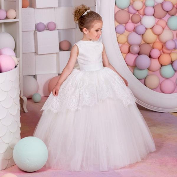 Princess Gown Formal Kids Dress Lace Flower Girls Dress Ball Gown Tulle Cheap China First Communion Dresses ytz250