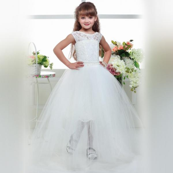 Princess Lace Flower Girls Dress Two Pieces Ball Gown Tulle Cheap China First Communion Dresses ytz252