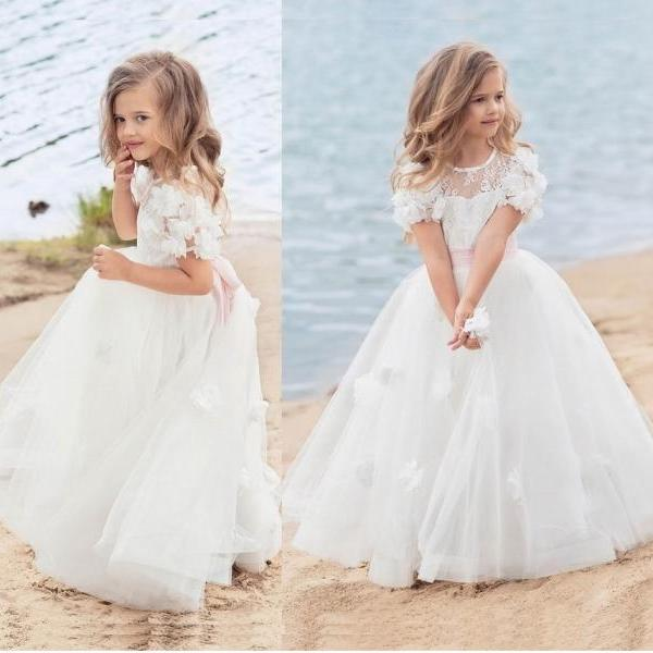 Flower Girl Dress Short Sleeve Tulle Bridesmaid Party Long Kids Gown Custom Size ytz318