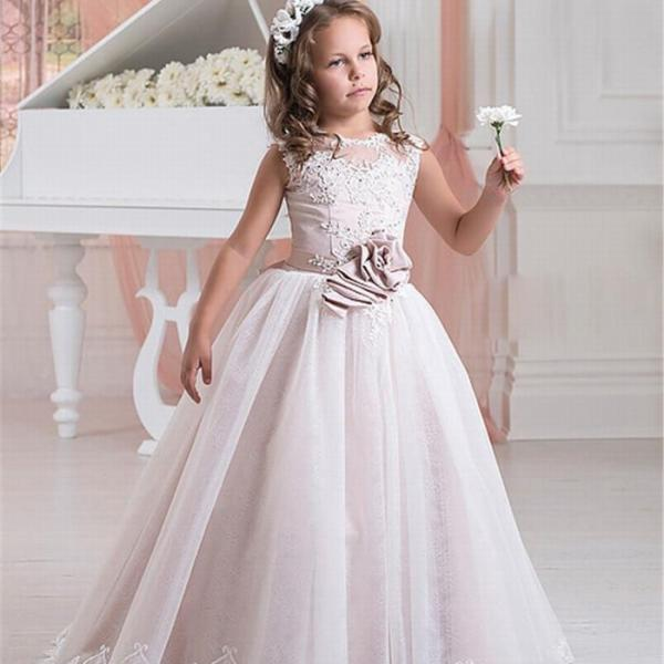 Pink Tulle LaceCommunion Evening Prom Party Formal Birthday Pageant Ball gown ytz320