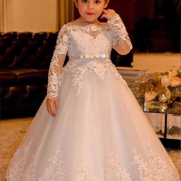Long Sleeve Lace Flowers Girls Dress for Weddings Girls First Communion Dresses ytz321 (1