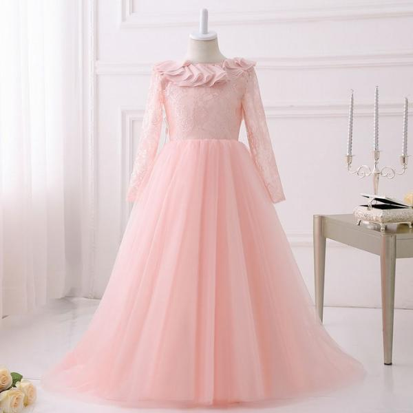 New Party Formal Pink Flower Girl Dress baby Pageant Gowns Birthday Communion ytz322
