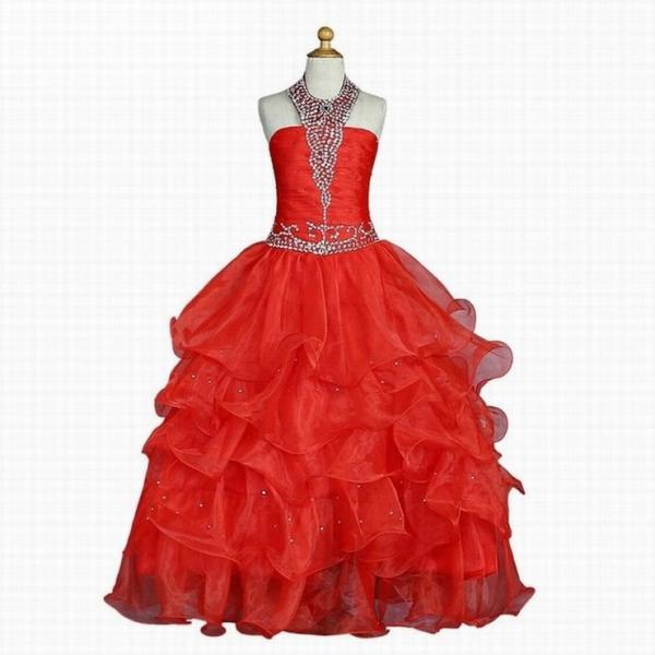 Red 2018 Girls Pageant Dresses For Weddings Ball Gown Halter Organza Tiered Beaded Flower Girl Dresses For Little Girls st11 (1)