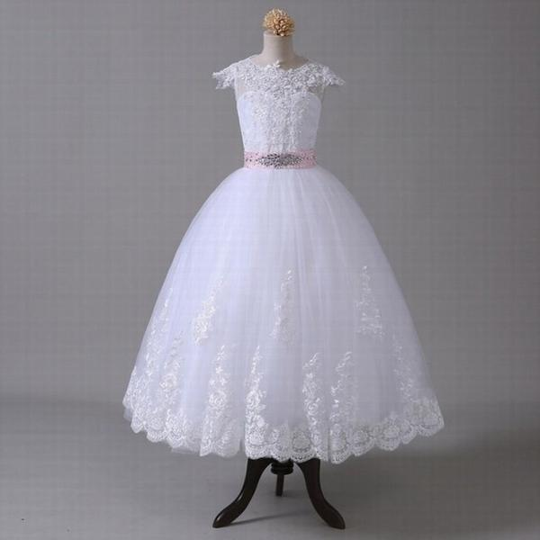 Ball Gown 2018 Flower Girl Dresses For Weddings Cap Sleeves Bow Lace Beaded First Communion Dresses For Little Girls st29 (1)