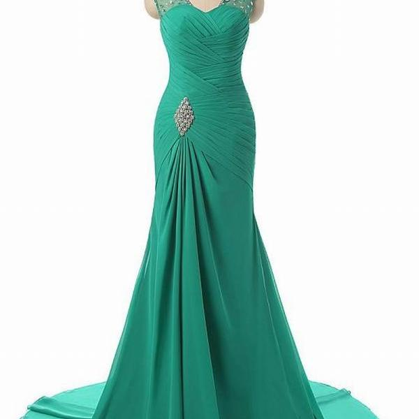 Stunning Chiffon Scoop Neckline Mermaid Evening Dresses With Beadings 8LF33