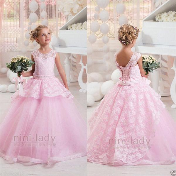 Pink Elegant Lace Ball Gown Girl's Flower Girl Dress Communion Party Prom Ball Pageant Bridesmaid Princess Gown 92-pink