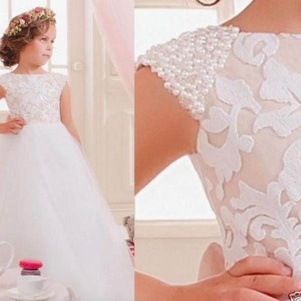 Lace Pearls Christening Princess Gown Kids Flower Girl Dress Beaded Prom Birthday Ball Gown 95