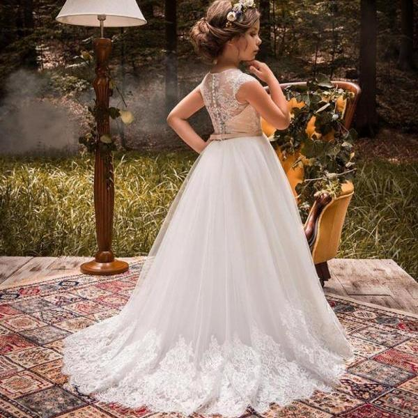 New Lace Long Kids Flower Girl Dresses Kids Birthday Weddings Holy Communion Princess Gowns 103