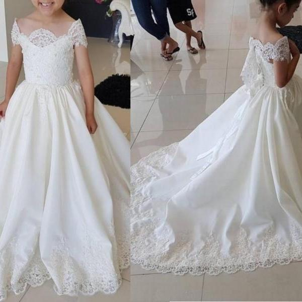 Lace Ball Gown Kids Flower Girl Dresses Kids Birthday Weddings Cap Sleeve Holy Communion Gowns 104