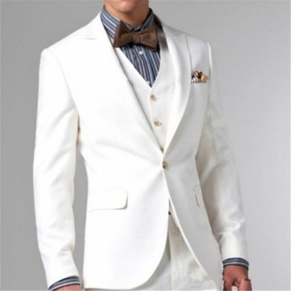 Grooms Tuxedos White Peaked Lapel Wedding Suits For Men Three Piece Mens Suits Two Button Groomsmen Suit(pants+jacket+vest+bow)